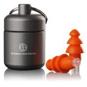 Titan Tactical 29NRR Reusable Shooting Ear Plugs w/ Removable Noise Filter + Heavy Duty Aluminium Case