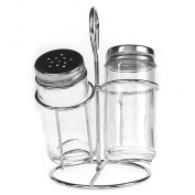Glass Salt & Pepper Shakers in Wire Holder