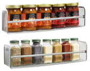 2 Pack Wall Mount Single Tier Mesh Spice Rack, Chrome