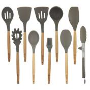 BGT 10 Pcs/Set Silicone Kitchen Utensils Set With Beech Wood Handle Cooking Utensils