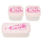 3 Piece Plastic Food Storage Containers with Pink Cherry blossoms Print Lids , Microwave and Dishwasher Safe
