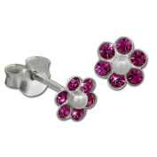 Earring Zirconia 925 Sterling Pink Tee-Wee Flower Stud Earring Silver Extra Extra Glitter Jewellery Extra SDO8016P