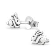 Laimons Women's Childrens Cute Rabbit Oxidised 925 Sterling Silver Stud Earrings