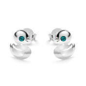butterfly Studs for girls, 925 sterling silver, original Elements, turquoise duck