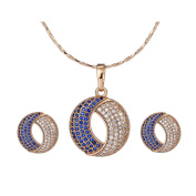 XUPING Jewellery Moon Shaped Fashion Gold Plated Stud Earrings and Necklace Set for Her for Women