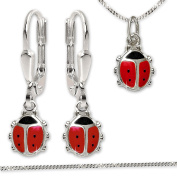 Clever Jewellery Set Silver Pendant Miniature Ladybird Red and Black, Matching Earrings And Curb Chain 40 cm 925 Silver