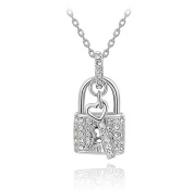 Fashion Gold Plated Austrian Crystal Padlock Pendant Necklace Valentine Gift. The Open Your Heart
