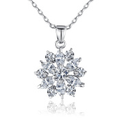 BAMOER Snowflake Series 18k White Gold Plated AAA Clear Cubic Zirconia Pendant Necklace …