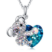 MEGA CREATIVE jewellery-Lovely Koala Bear Blue Crystal Elements White Gold Plated Necklace, Daughter Gifts