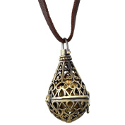 Cupimatch Retro Bronze Tear Drop Openwork Locket Pendant Diffuser Necklace with Leather Cord Chain