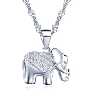 Yumilok Jewellery 925 Sterling Silver Cubic Zirconia Silver/Rose Gold Plated Lovely Elephant Pendant Necklace for Women/Girls