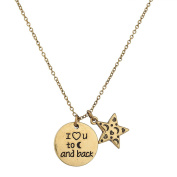 Lux Accessories Women's and Girl's Crescent Moon Child Necklace and Star Galaxy Necklace Set