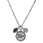 Lux Accessories Boho Burnish Silver Life Engraved Inspirational Charm Necklace