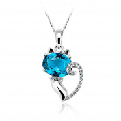 JiangXin Glamorous Cat 925 Sterling Silver Blue Crystal Pendant Necklace for Women Girls Daughter Friends