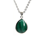 Amandastone Gemstone Natural Malachite Heart Charm Pendant Necklace 46cm