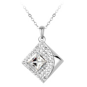 JiangXin Sparking Geometrical Zirconia Halo Pendant Necklace --White Gold Plated