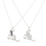 Lux Accessories Silver Tone Cat and Pearl BFF Best Friends Necklace Set