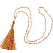 KELITCH Fashion Crystal Strand Necklace Long Chain with Buddha Head Tassel Pendant