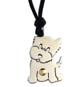 Stainless Steel and Gold Puppy Pendant with Cord