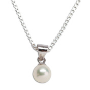 """Precious Pieces Girl's Sterling Silver Cultured Pearl Necklace (6mm), 14"""""""