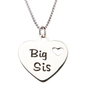 """Precious Pieces Girl's Sterling Silver """"Big Sis"""" Charm Necklace, 36cm"""