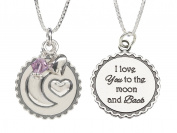 """Precious Pieces Childrens Sterling Silver """"I Love You to the Moon and Back"""" Birthstone Necklace, 36cm"""