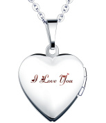 """Yumilok """"I Love You"""" Engraved Stainless Steel Pink/Blue Open Heart Photo Locket Memory Pendant Necklace for Women/Girls/Couples"""