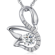 Elegant Swan Necklace - Fashion Swan Pendant Necklace,Lovely Swan Animal Pendant Necklace - Dancing Diamond Sterling Silver Necklace With Swan Pendant for Women - Fashion Swan Necklace