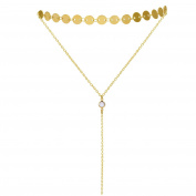 Layered Choker Necklace with Crystal Pendant Gold & Silver Dainty Disc Choker Y Necklace Set Tattoo Double Choker for Women Girls