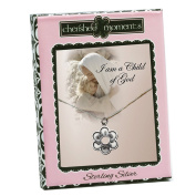 """Precious Pieces Girl's Sterling Silver """"I Am a Child of God"""" Daisy Necklace, 36cm"""
