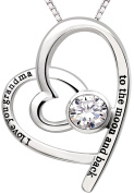 """ALOV Jewellery Sterling Silver """"I love you grandma to the moon and back"""" Love Heart Cubic Zirconia Pendant Necklace"""