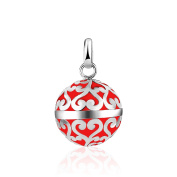 Adorable and Attractive, Pure 925 Sterling Silver and Red Enamelled filigree Harmony Ball Pendant with or without Chain.