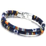 Two-Strand Navy Blue Tribal Tibetan Mens Womens Cotton Bracelet Wristband Wrap Bracelet