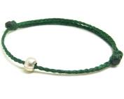 BUSABAN Asian Handmade Bracelet 925 Silver Bead Double Green Wax String
