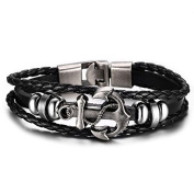 """""""SALVATORE"""" Collection by Vittore - Black Leather Braided Bracelet With Stainless Steel Buckle - Anchor Bracelet"""