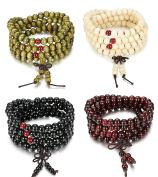 Sailimue 4-5 Pcs Wood Beaded Bracelets for Men Women Beads Necklace Buddhist Elastic