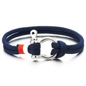 Mens Womens Steel Screw Anchor Shackles Nautical Sailor Navy Blue Rope Cord Wrap Bracelet Wristband