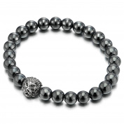 8MM Mens Women Hematite Beads Bracelet with Lion Head Charm, Stretchable
