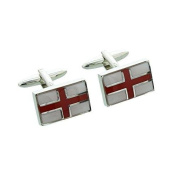 Rhodium Plated English St Georges Flag Cufflinks in Gift Box