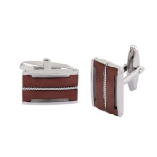 Phebus 85/0012-F-Boutons Men's Stainless Steel Cufflinks with Twisted Cord Pattern Coffee