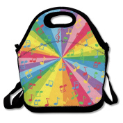 Colourful Music Notes Lunch Tote Bag Bags Awesome Lunch Handbag Lunchbox Box For School Work Outdoor