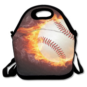 Baseball Ball Fire Lunch Tote Bag Bags Awesome Lunch Handbag Lunchbox Box For School Work Outdoor