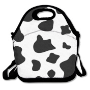 Cow White Black Lunch Tote Bag Bags Awesome Lunch Handbag Lunchbox Box For School Work Outdoor