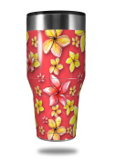 Skin Decal Wrap for Walmart Ozark Trail Tumblers 1180ml Beach Flowers Coral (TUMBLER NOT INCLUDED) by WraptorSkinz