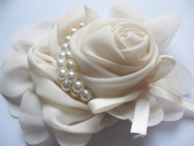 YYCRAFT Pack Of 3pcs Chiffon Rose Flower Pearls Bow Headband-Ivory