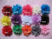 YYCRAFT Pack Of 15 Chiffon 6.4cm Flower Solid Colour-15 colours