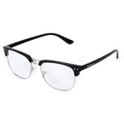 PriMI Unisex Retro Plain Glasses Eyeglasses Black Half Frame