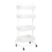 bremermann® 4-tier adjustable utility cart with 4 baskets in white