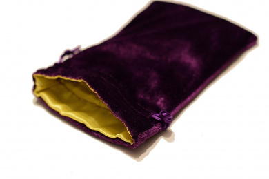 Large Purple Velvet Gift Bag Game Dice Bag w/ Yellow Satin Lining Counter Pouch