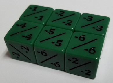 6x Green Negative Dice Counters -1/-1 for Magic: The Gathering and other games / CCG MTG